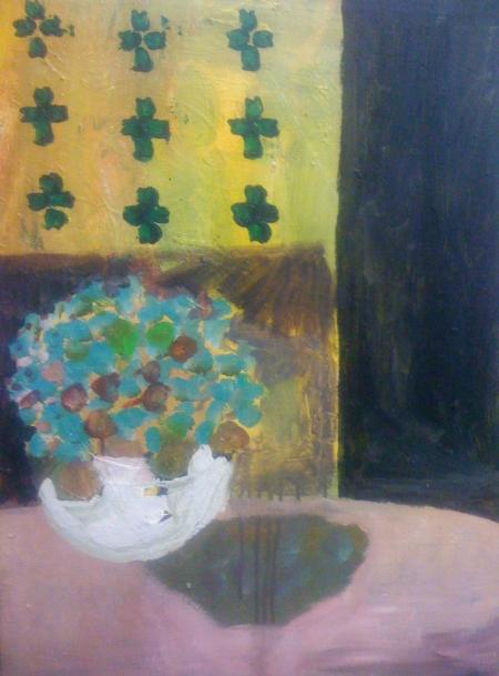 Fialky, 70 x 50  cm, akryl na plátně, soukromá sbírka