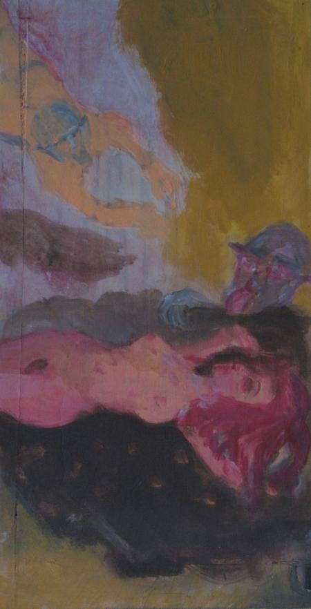 Výjev mého nadržení I, 47 x 25 cm, akryl na dřevě