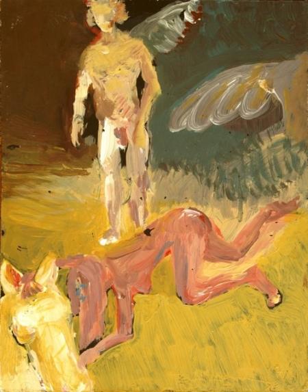 AsaSasa nebeští jezdci I, 30 x 20 cm, akryl na sololitu