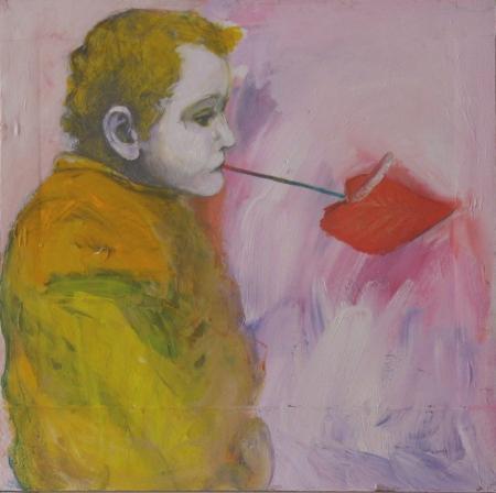 Anturie, 49 x 49 cm, akryl na papíře, soukromá sbírka