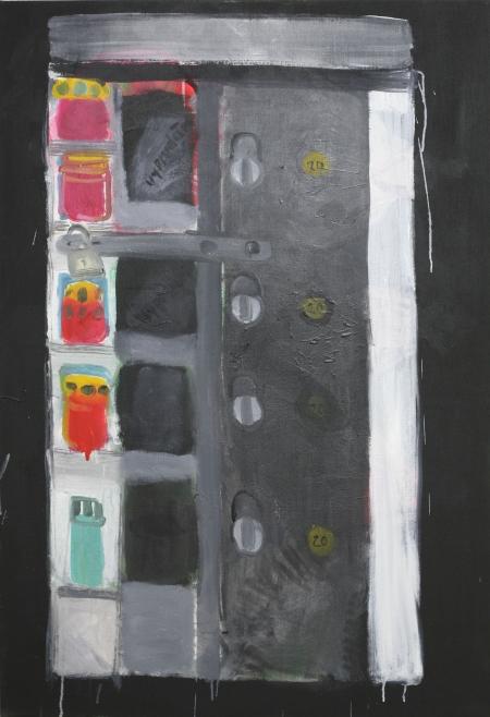 Automat na svíčky, 110 x 80 cm, akryl na plátně