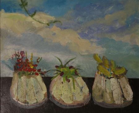 Bábovičky I, 60 x 80 cm, kombinovaná technika na plátně
