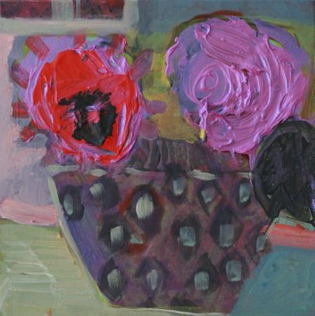 Broušená váza II, 25 x 25 cm, akryl na plátně, soukromá sbírka