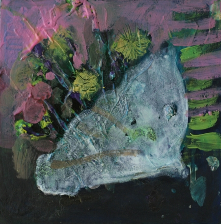 Celofán I, 25 x 25 cm, akryl na plátně, soukromá sbírka