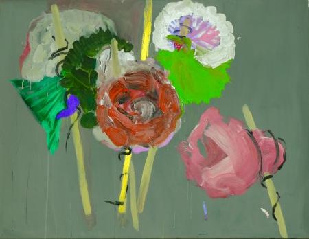 Pouťové růže VI, 100 x 120 cm, akryl na plátně