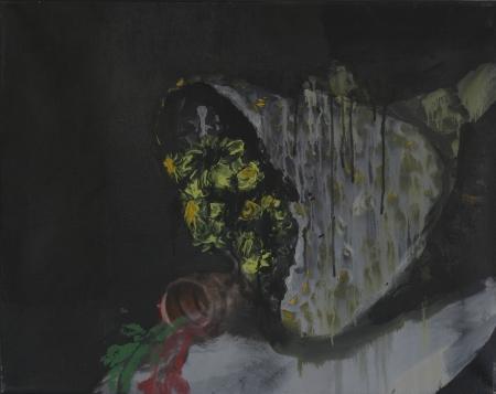Hřbitovní kvítí, 50 x 70 cm, akryl na plátně, soukromá sbírka