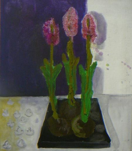 Hyacinty II, 70 x 50 cm, akryl na plátně, soukromá sbírka