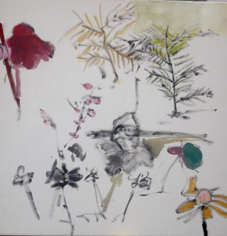 Políčko XI, 95 x 95 cm, akryl na plátně