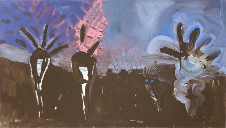 Políčko - Kozín II, 95 x 160 cm, akryl na plátně