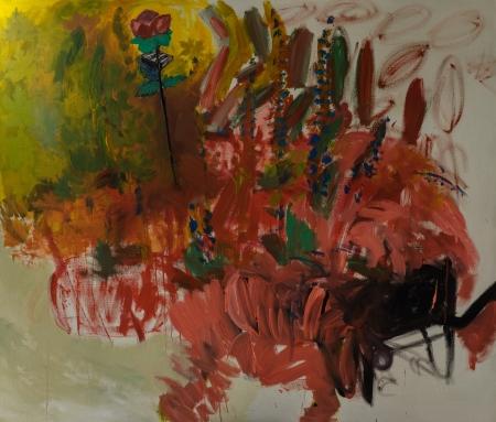 Listí, 170 x 200 cm, akryl na plátně