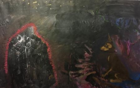 Noční hlídka, 90 x 160 cm, akryl na plátně