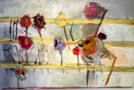 Pouťové růže, 130 x 200 cm, akryl na plátně, soukromá sbírka