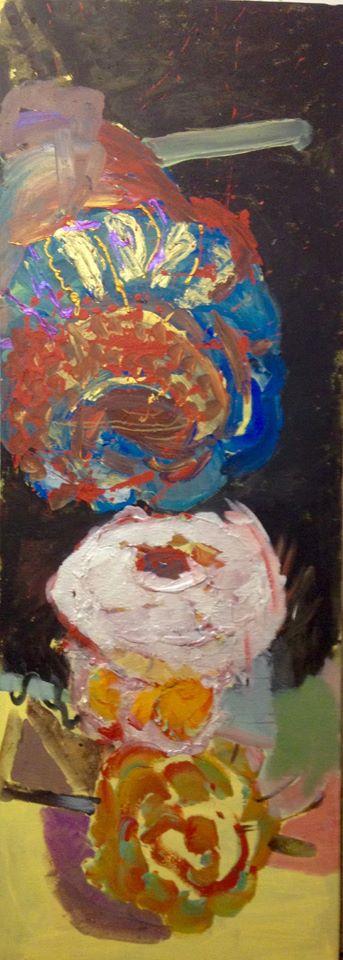 Políčko II, 210 x 70 cm, akryl na plátně