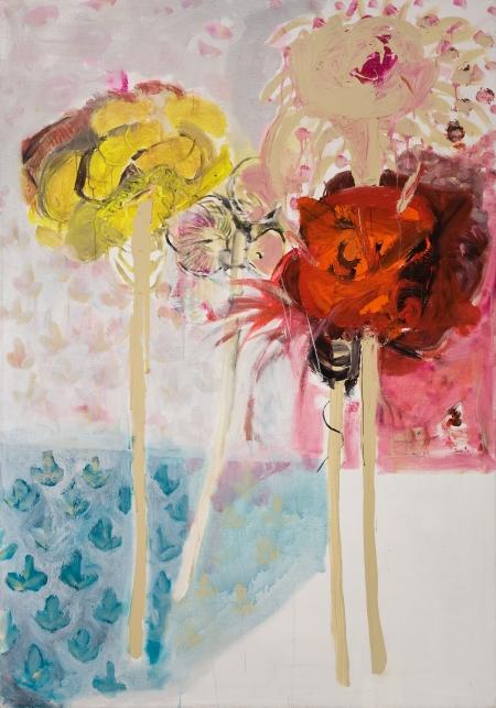 Pouťové růže I, 200 x 140 cm cm, akryl na plátně, rezervováno