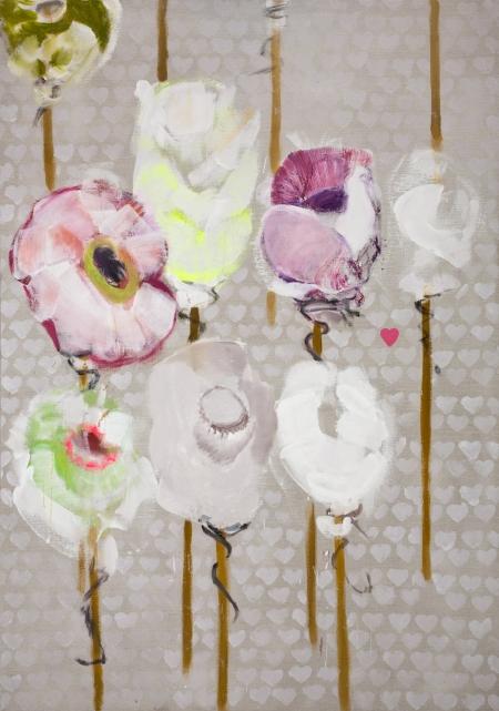 Pouťové růže II, 200 x 140 cm cm, akryl na plátně, soukromá sbírka