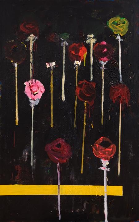 Pouťové růže V, 175  x 110  cm, akryl na plátně, soukromá sbírka