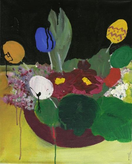 Velikonoční kvítí, 50 x 40  cm, akryl na plátně